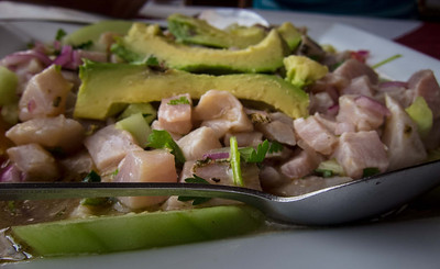 First course - a ceviche that was only for locals; waiter thought this would be too spicy for the gringas!