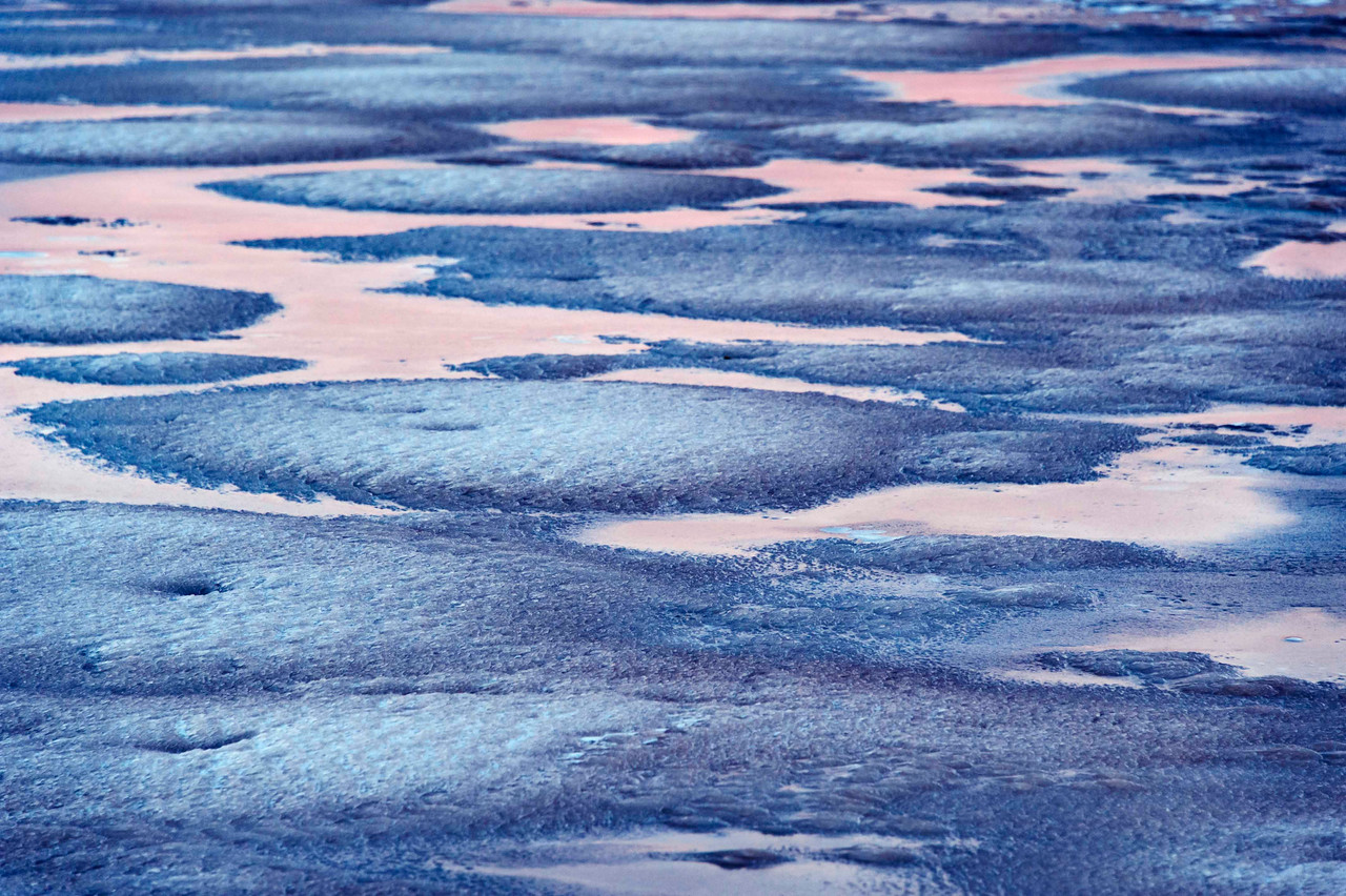 Ravishing<br /> Lake with ice/snow, at dawn