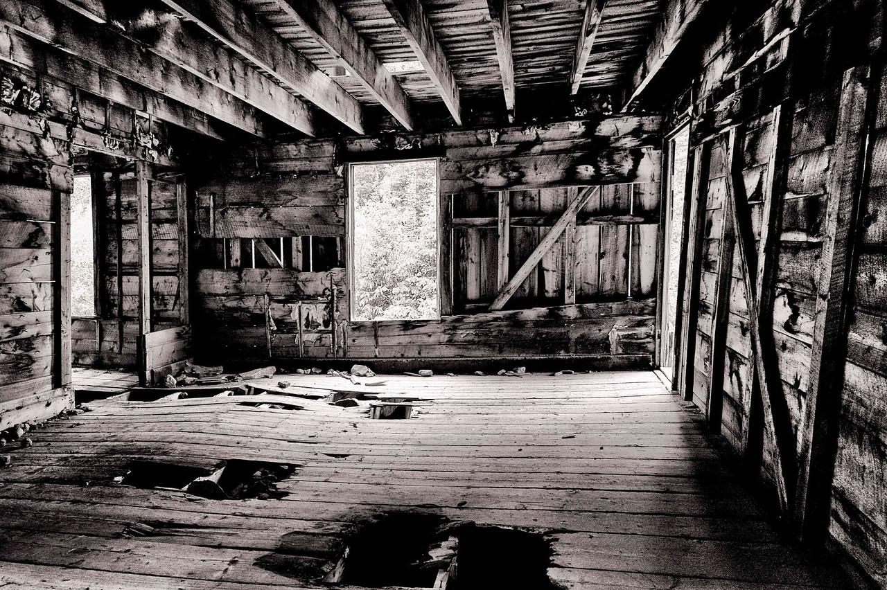 interior, old mining cabin, Stevens Gulch Road
