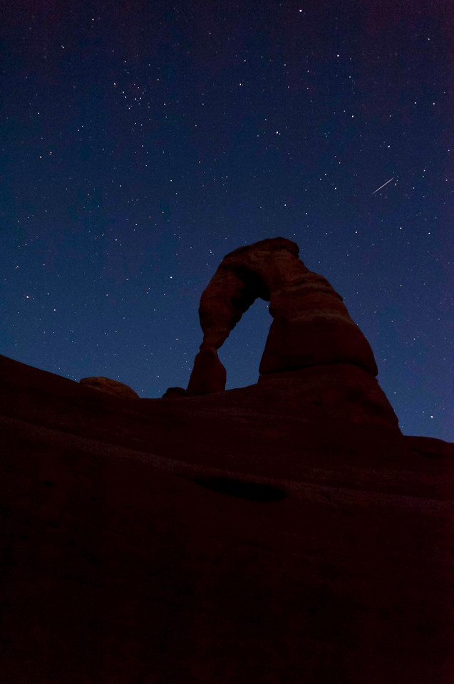 Delicate Arch - from the bowl below; no moon, clear balmy night, Lyrid meteor shower