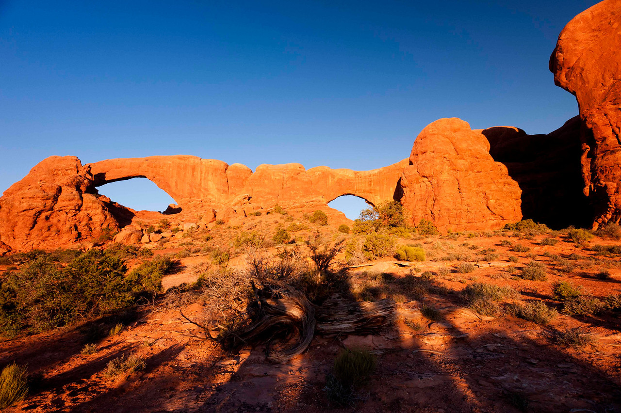 Sunrise in the Windows area, Arches.  Severely clear - the landscape photographers' nemesis.