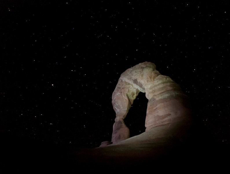 Delicate Arch.  Lit with LED beams, long exposure.  Sweet!