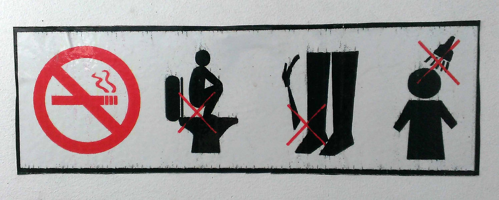 Angkor Wat, sign in western style bathroom.  You might have had to travel in Asia to appreciate . . .