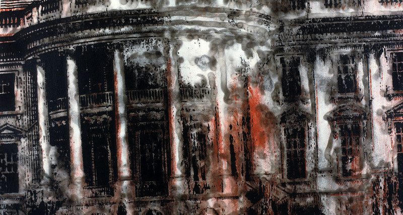 "Withstanding Deadly Attack From Within. Acrylic and smoke on canvas, 32"" x 44,"" 1992."