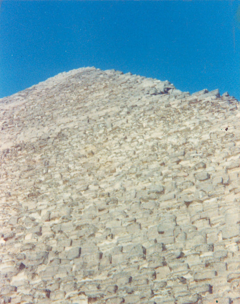 "Khufu, Then Someday Too Sol Lewitt Will Go Heavenward From Here, But Not Before I. Color print, 3.5"" x 4.5"", 1984."