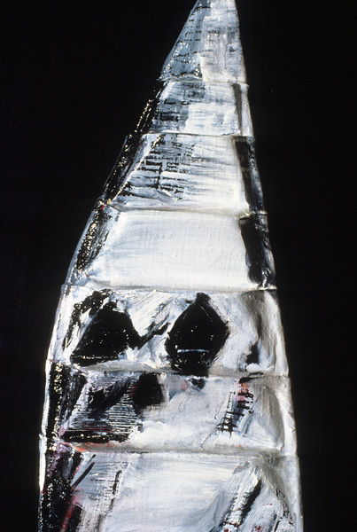 "in medias res 3. <br /> Oil on formed linen, 12.5"" x 4.5"" x 22.5"", 1985."