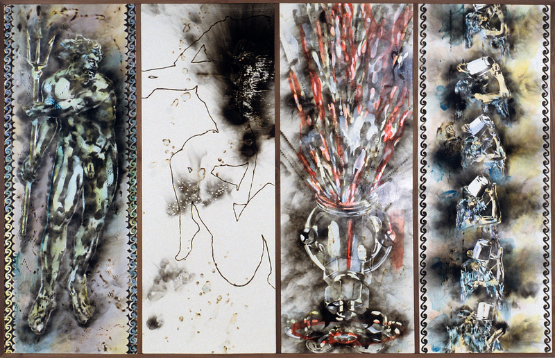 "FIЯƎTAW Sports. <br />      Acrylic, oil paint, smoke on canvas surface,144"" x 88,"" 1990."