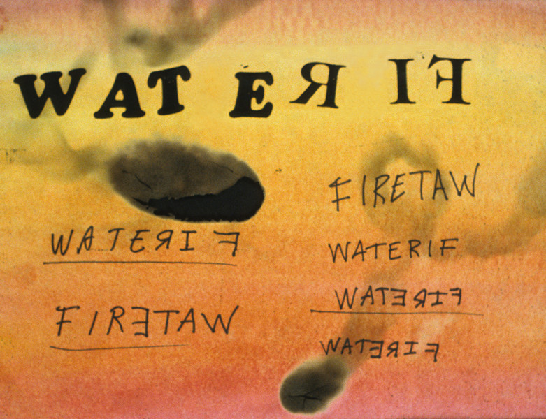 "FIЯƎTAW. <br />   Watercolor, smoke, and charred paper, 8.5"" x 11'"" 1990."