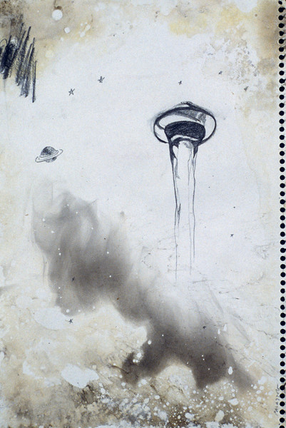"Flying Faucet. <br />                                              Pencil and smoke on paper, 9"" x 12,"" 1990."
