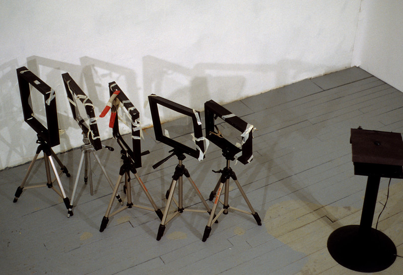 Layout of sculpture (in off position). Aluminum, Mylar, tripods and light source, 7'h x 4'w x 8'l, 1997.