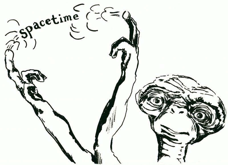 "spacETime 2. Ink on paper, 5"" x 7"", 2005."