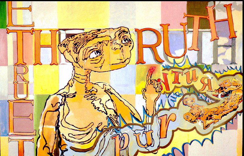 """purE Truth. Oil paint on linen, 36"""" x 48"""", 2004."""
