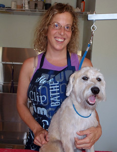 Wendee and a cleaned up Piper pup