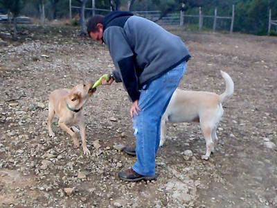 Jim playing with ranch hand Jason