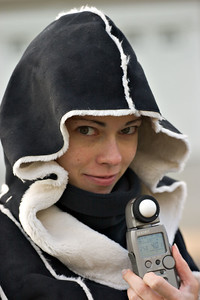 Tina's new jacket and my new light meter and lens