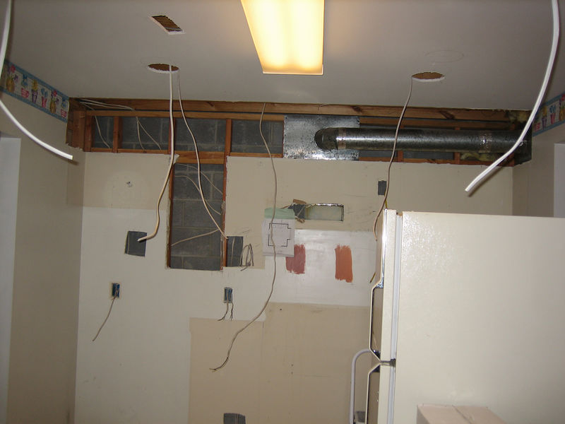 Day 2: Hol(e)y Kitchen.  Wiring goes in for overhead and under cabinet lighting