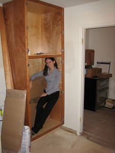Day 6: The pantry is finally installed.  It easily holds a spare wife or a stockpile of food incase of the bird flu.