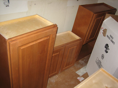 Day 4: Wall cabinets unpacked and ready to be hoisted into position