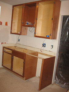 Day 6: All the cabinets around the sink are installed.