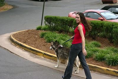 Wasn't sure if Tina was walking the dog or if the dog was walking Tina