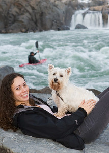 Nori, not amused by her mother, the falls, or the kayaker