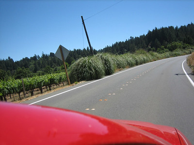 Our little red chariot - blazing through wine country