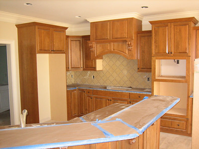 kitchen (...and you thought it was a guest room).  Backsplash not grouted.
