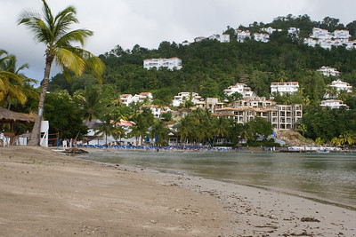 Beach at Windjammer Landing.  Our Villa is somewhere in the trees in the top right of the frame.