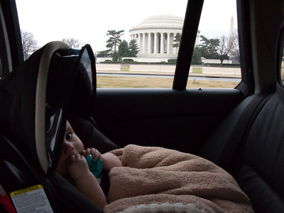 Ty's first visit to the Jefferson Memorial and Washington Monument.  I'm going to be real honest - we didn't mean to visit them.  2 years away from DC and suddenly the roads are very confusing.  I won't say who was driving but I will say I took this picture.