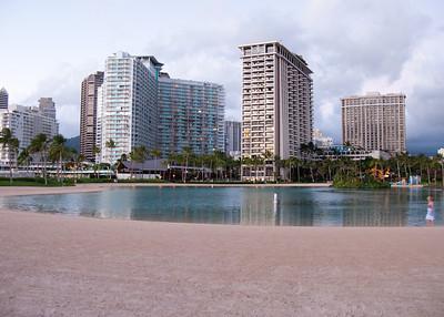 Sunset from Waikiki, Hilton Hawaiian Village lagoon