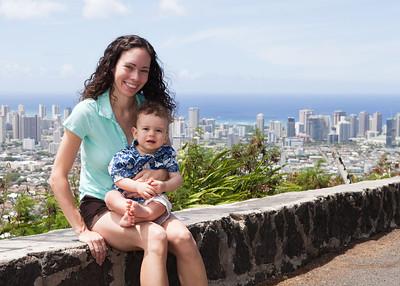 Ty sporting his Hawaiian shirt - Waikiki in background