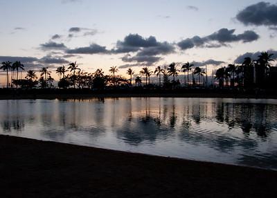 Sunset over the lagoon at Hilton Hawaiian Village