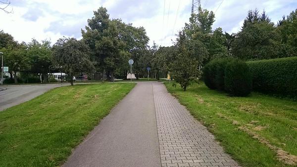 Stuttgart greenway.  Pavers indicate where you should walk and asphalt where you should bike