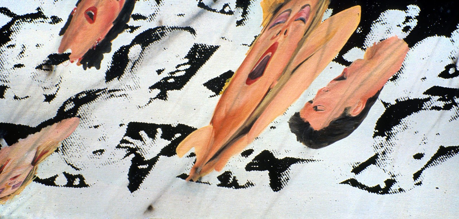 "U4ea 5. <br /> Oil paint, smoke from bottle rockets, and acrylic print, on canvas, 30"" x 54,"" 1990."