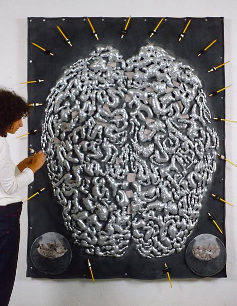 Reflective & Dependent Mind. Mixed media, 5' x 6.5', 1998.