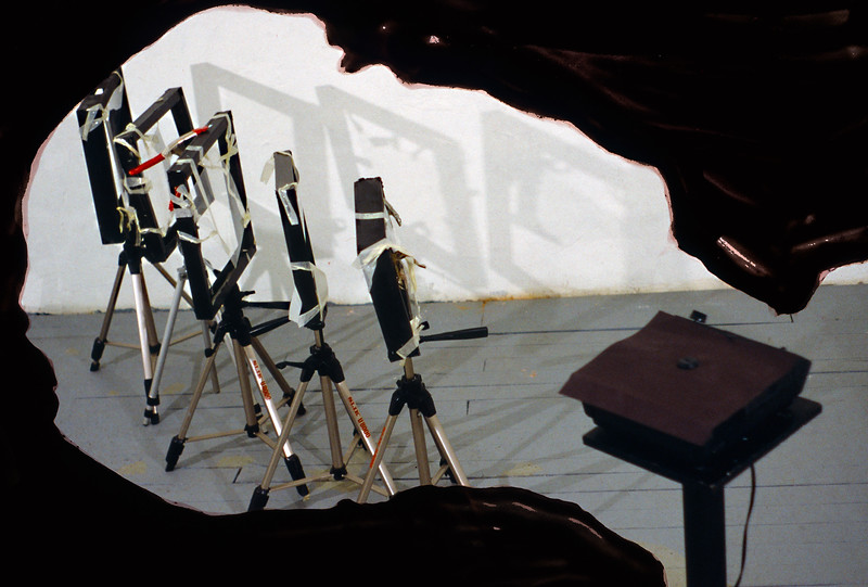 "Stark Light of Unconsciousness. Paint on Photo, 18"" x 24,"" 1999."