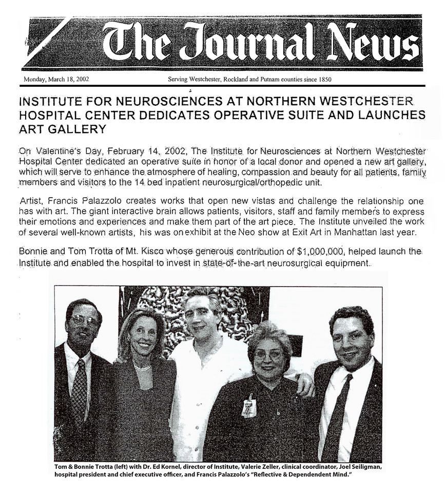 This Journal News report is representative of the nine additional articles that document my work at the Institute for Neuroscience, i.e., The Patent Trader; The Record Review; Westchester County Business Journal; Women's News; The Westchester Wag; Westchester Jewish Chronicle; Westchester Magazine; Westchester Wire; Suburban Street.