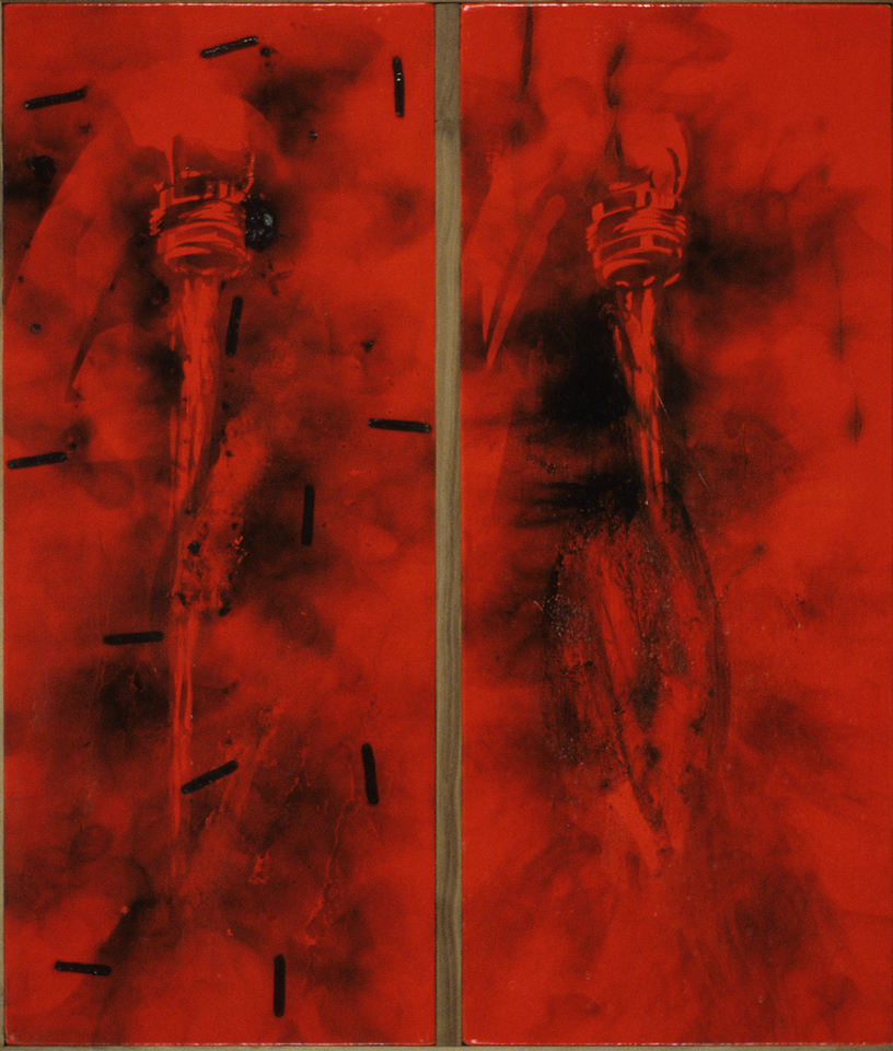 "FIЯƎTAW Faucet.<br />   Smoke and acrylic paint on canvas, 20"" x 30"", 1990."