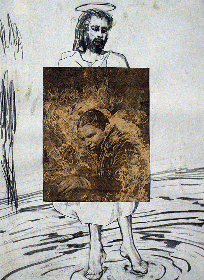 "FIЯƎTAW Man. Pencil and newspaper on paper, 9"" x 12"", 1990."