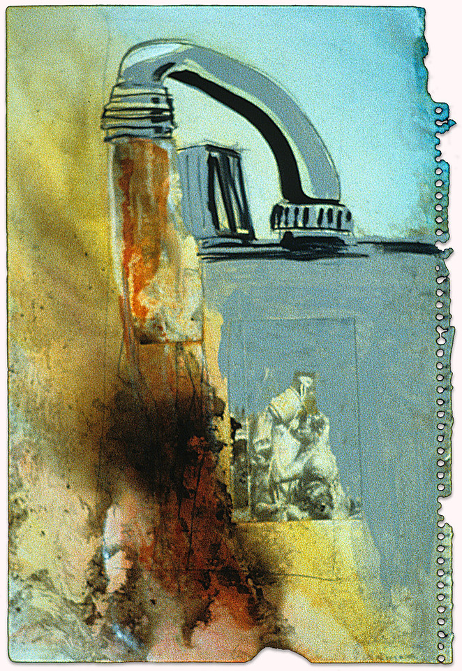 """Burnt Water.<br />              Ink, photograph  and smoke on charred paper, 9"""" x 12,"""" 1990."""
