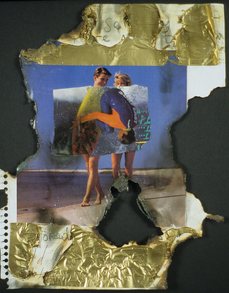 "Hot Cool Exchange. Smoke, gold foil, and magazine on charred paper, 9"" x 12"", 1990."