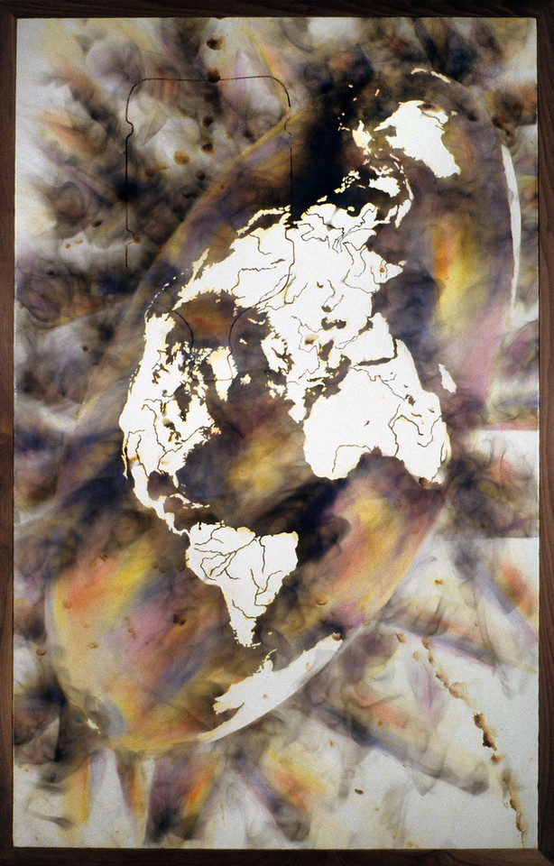 """FIЯƎTAW Life. <br />  Oil paint and smoke on canvas, 26"""" x 26"""", 1990."""