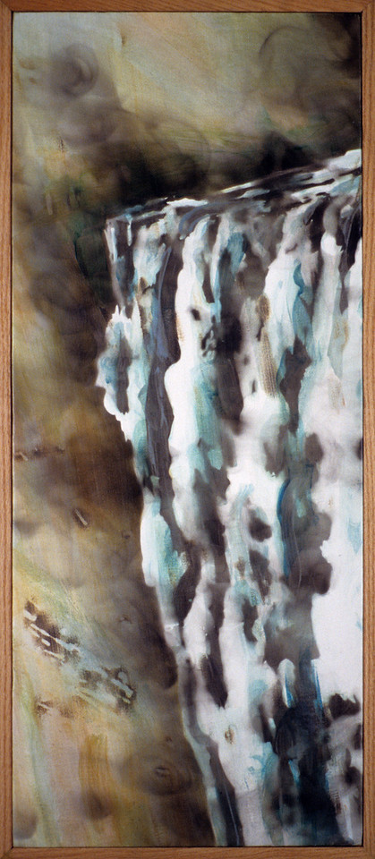 "Smoke Falls. <br />                                                Oil paint and smoke on canvas, 11"" x 30"", 1990."