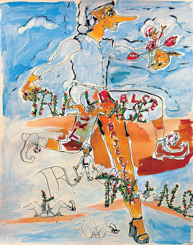 """All Gender Logic. Ink on paper, 18"""" x 24"""", 2002."""