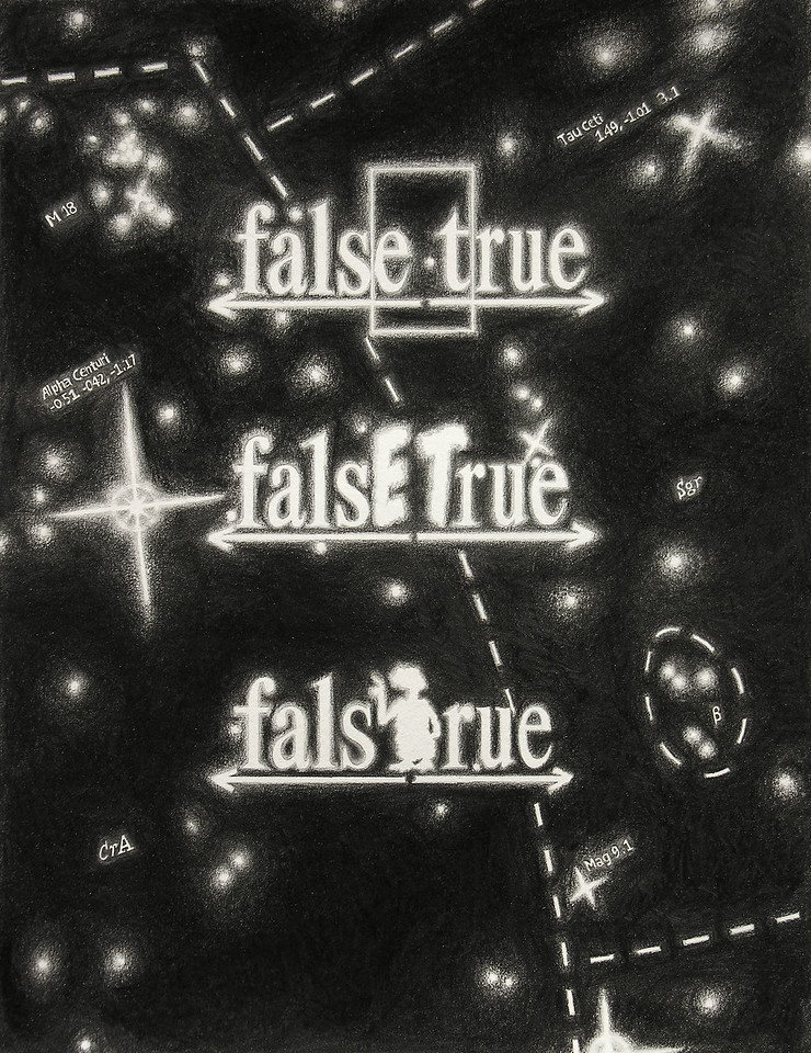 "falsETrue Coordinates. Pencil on paper, 14"" x 17"", 2006."