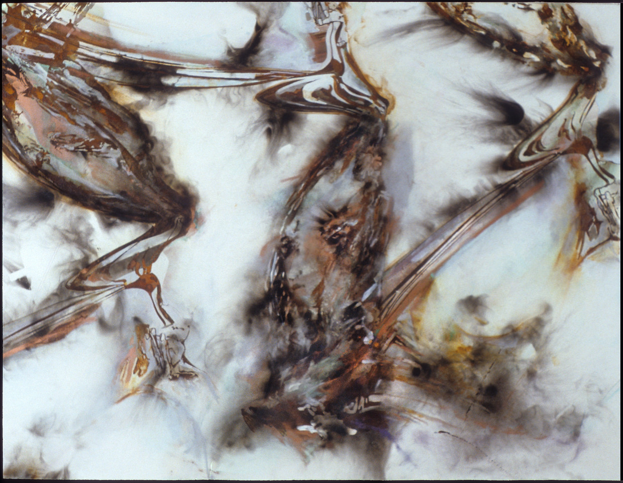 """Supercontext 6. <br /> Fire (via carbonization) and powdered metals (via oxidation) on canvas, 88"""" x 66"""", 1995."""