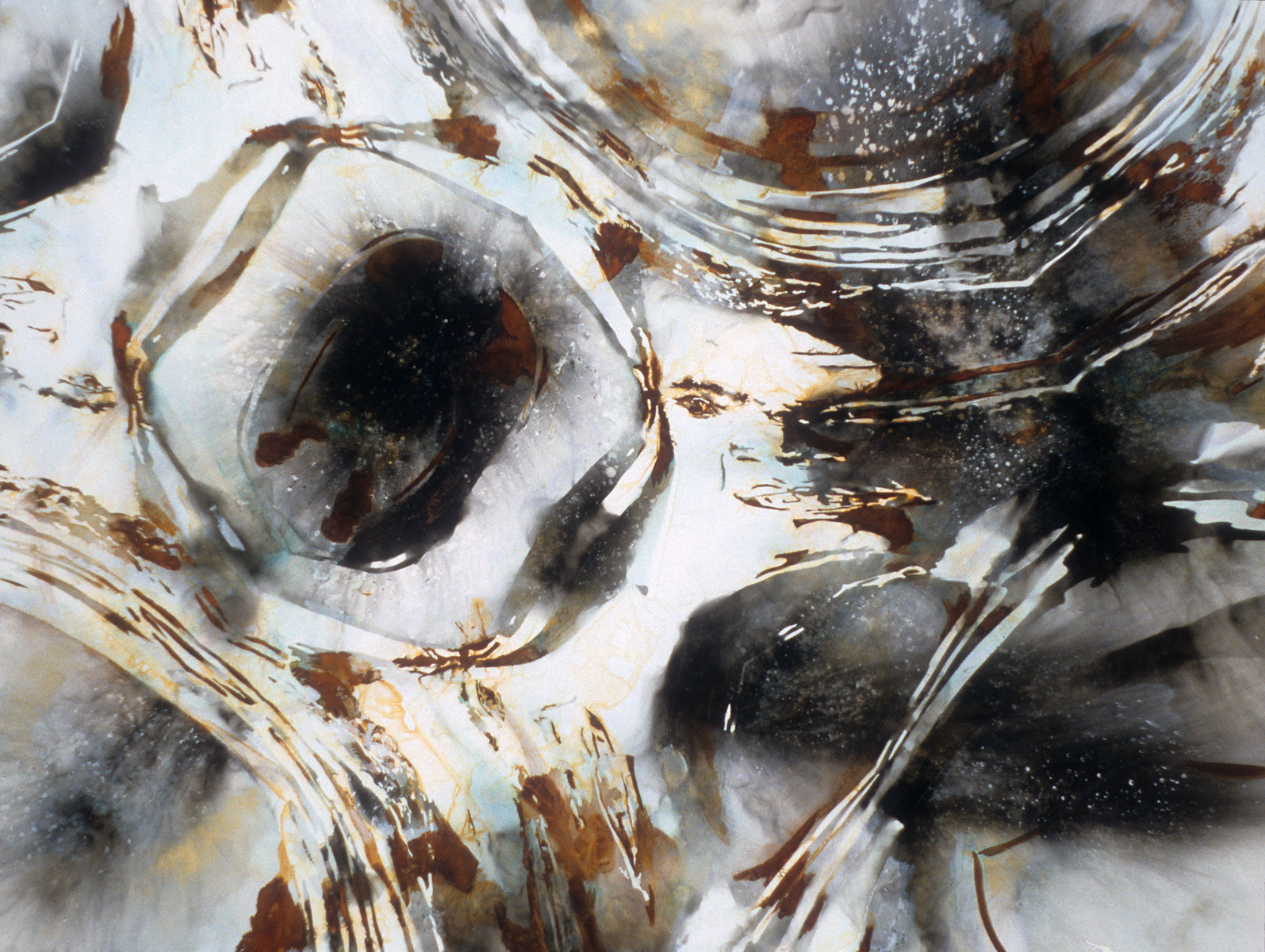 """Supercontext 2. <br /> Fire (via carbonization) and powdered metals (via oxidation) on canvas, 88"""" x 66"""", 1994."""