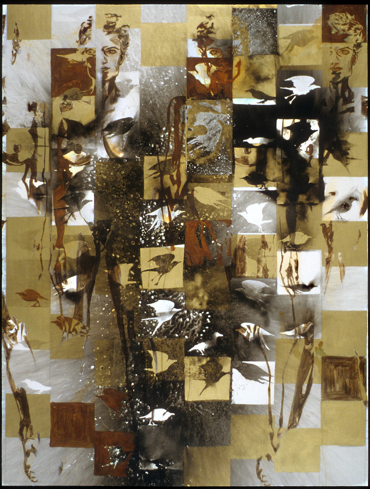"""Supercontext 1. <br /> Fire (via carbonization) and powdered metals (via oxidation) on canvas, 88"""" x 66"""", 1994."""