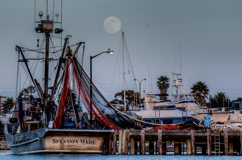 Nets Drying at Moonrise, Ventura Harbor