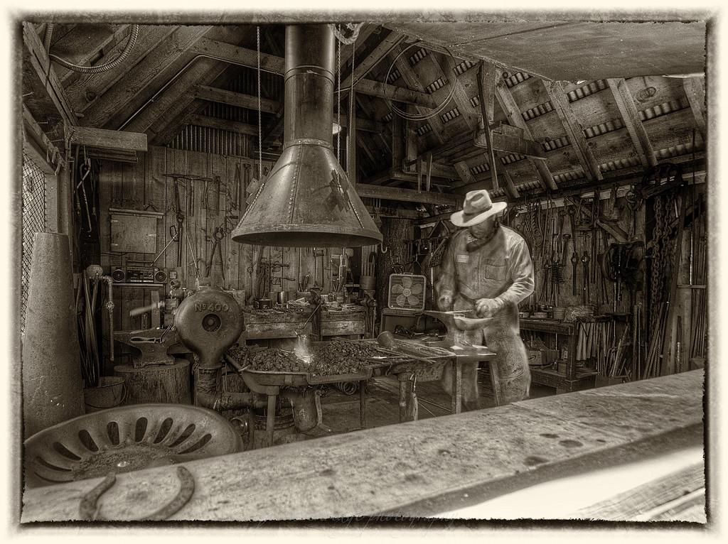 Blacksmith in Sepia